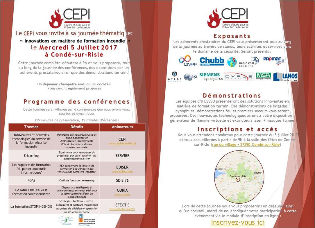 Journée thématique CEPI – 5 juillet 217 – Innovations en matière de formation incendie
