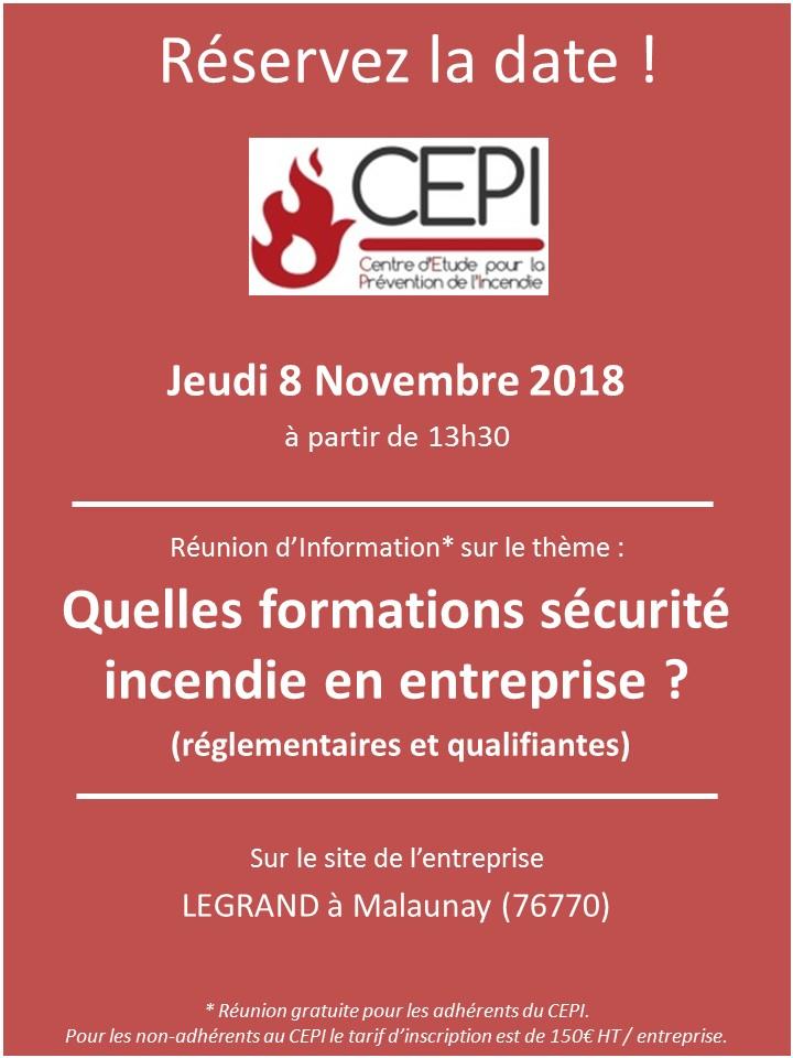 SAVE THE DATE : 8 novembre 2018 – Réunion d'information – «Quelles formations sécurité incendie en entreprise ?»